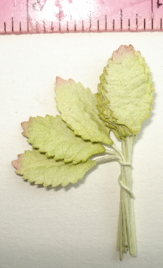 10 - Handmade Mulberry Paper Leaves - Mini Light Green