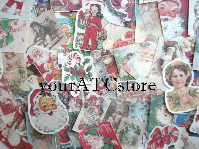 25 Fussy Cut Vintage Christmas Ephemera Reproductions Pieces