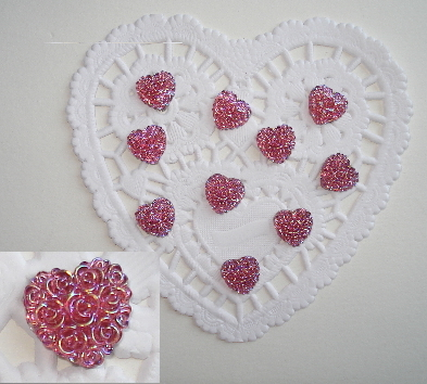 10 - Aurore Boreale Mini Flatback Resin Burgandy Rosey Hearts