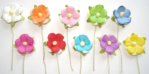 "10 - Handmade Mulberry Paper Mini Mix 11/16"" Rainbow Flowers"