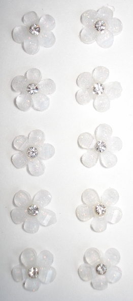 10 - Acrylic Flatback Iridescent Mini Ivory Flower w/ Gem Center
