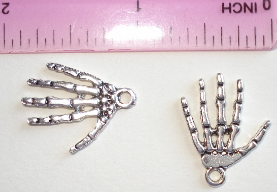 Art Doll - Hand Silver Skeleton Charms for Halloween - Set of 2