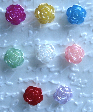 8 - 1/2 in. Flatback Assorted Resin Rose Gems
