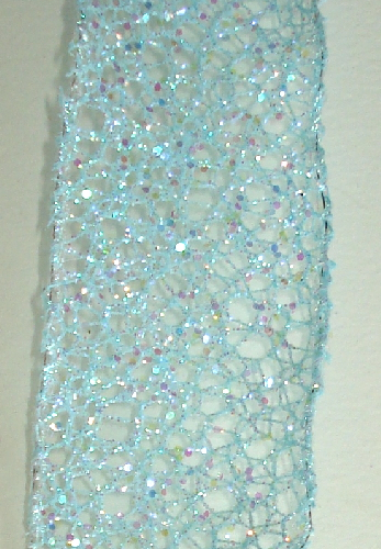Light Blue Glitter Wired Edge Netting Ribbon - 1 1/2 inch Wide