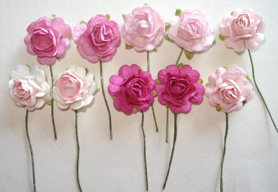 "10 - Handmade Mulberry Paper Mini Mix 3/4"" Roses Shades of Pink"