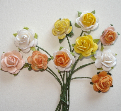 10 - Handmade Mulberry Paper Mini Mix Roses - Orange/Yellow