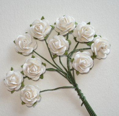 10 - Handmade Mulberry Paper Mini Roses - White