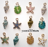 12 - Enamel Painted Gold Tone Seashell Charms