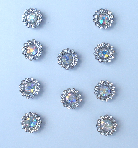10 - AB Crystal Rhinestone Floral Embellishments for Crafts and