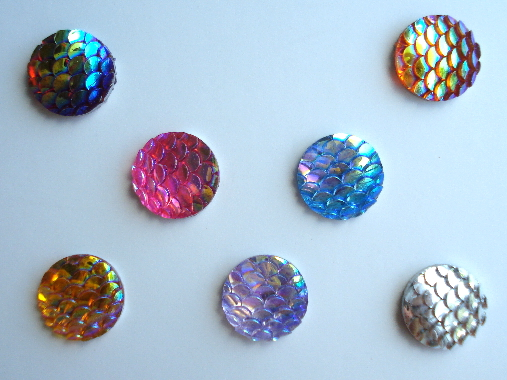 7 - Round Iridescent Resin Flatback Fish/Mermaid Scale Gems