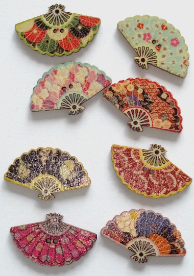 *NEW 8 Beautiful Wooden Chinese Fan Buttons