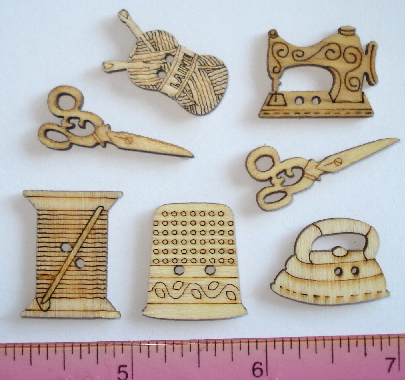 *NEW 7 Wooden Sewing Theme Buttons