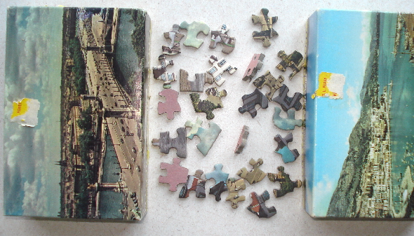 Mini Vintage Puzzle Pieces - 15/pkg. of Thick Gameboard Pieces
