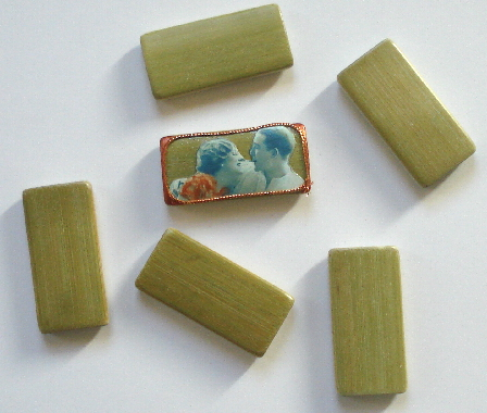 Bamboo Tile Beads - Green Set of 12