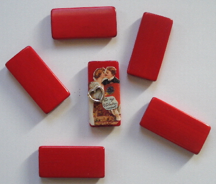 Bamboo Tile Beads - Red Set of 12