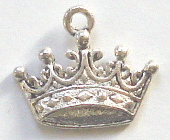 Crown - Silver Fancy 3 Diamond Crown Charm