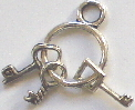 Keys - Mini Silver Key Ring Charm with 3 Keys