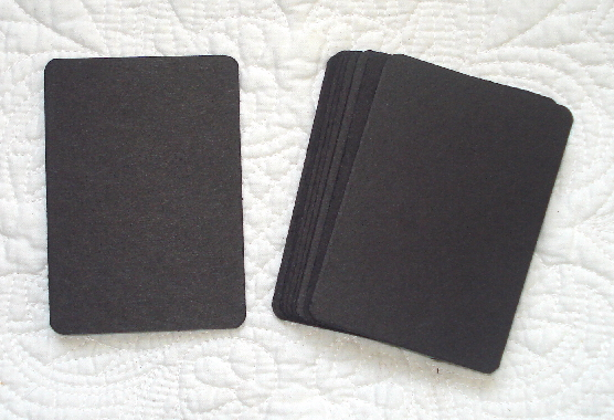 10 - Black Chipboard ATCs with Rounded Corners - 50pt Thickness