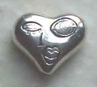 Art Doll - Head/Face Bead - Silver Heart Winking Zetti Bead