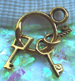 Keys - Mini Gold Key Ring Charm with 3 Keys
