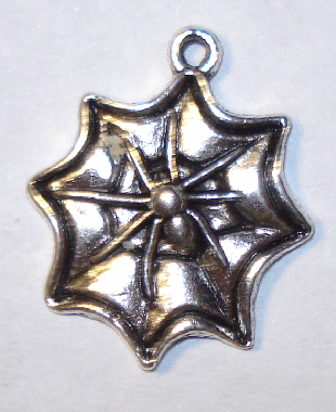Halloween Spider on Web Charm - Silver