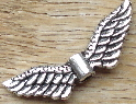Angel Wings - Silver 2-Sided 3-Layer Winged Bead Charm