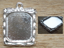 Picture Frame Photo Charm - Silver (Shiney) Rect. Leaf Design