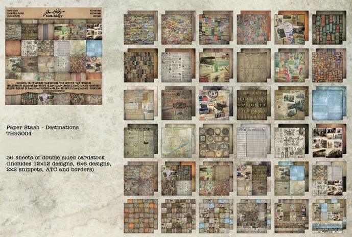 Tim Holtz Idea-ology Paper Stash - 12 x 12 Destinations w/ ATCs