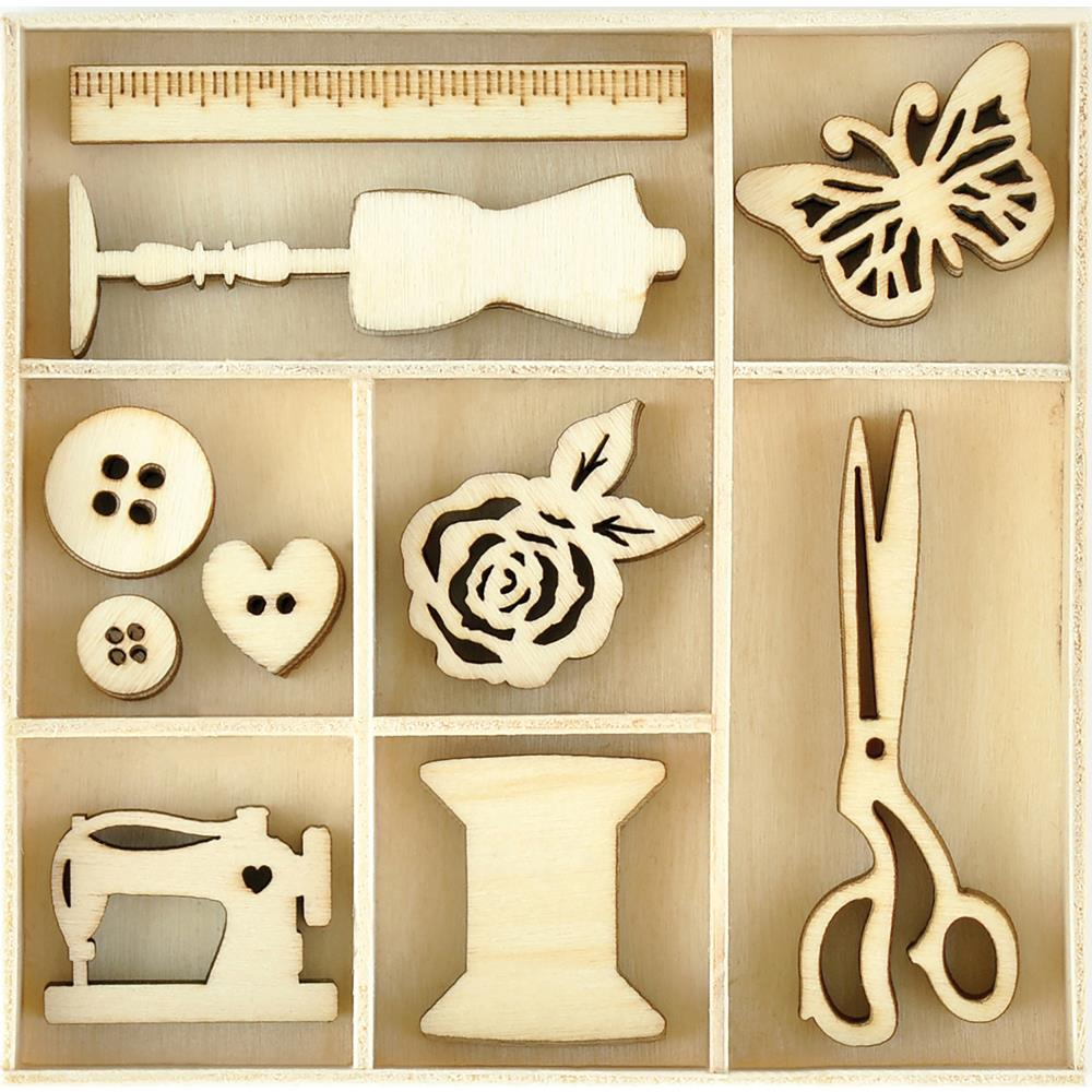 Kaisercraft Wood Mini Treasures Sewing Themed Embellishments