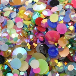 4 Grams of Resin Flat Back Rhinestone Mixed Gem Assortment