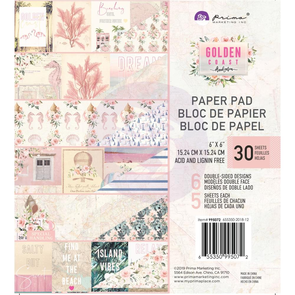 *NEW Prima Marketing 6 in. x 6 in. Gold Coast Paper Pad