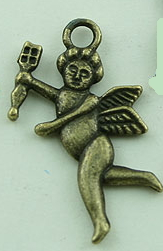 Cupid 2 Sided Charm - Antique Brass