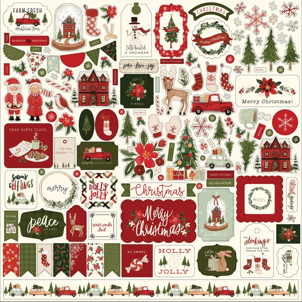 *NEW Carta Bella Hello Christmas Element Cardstock Stickers