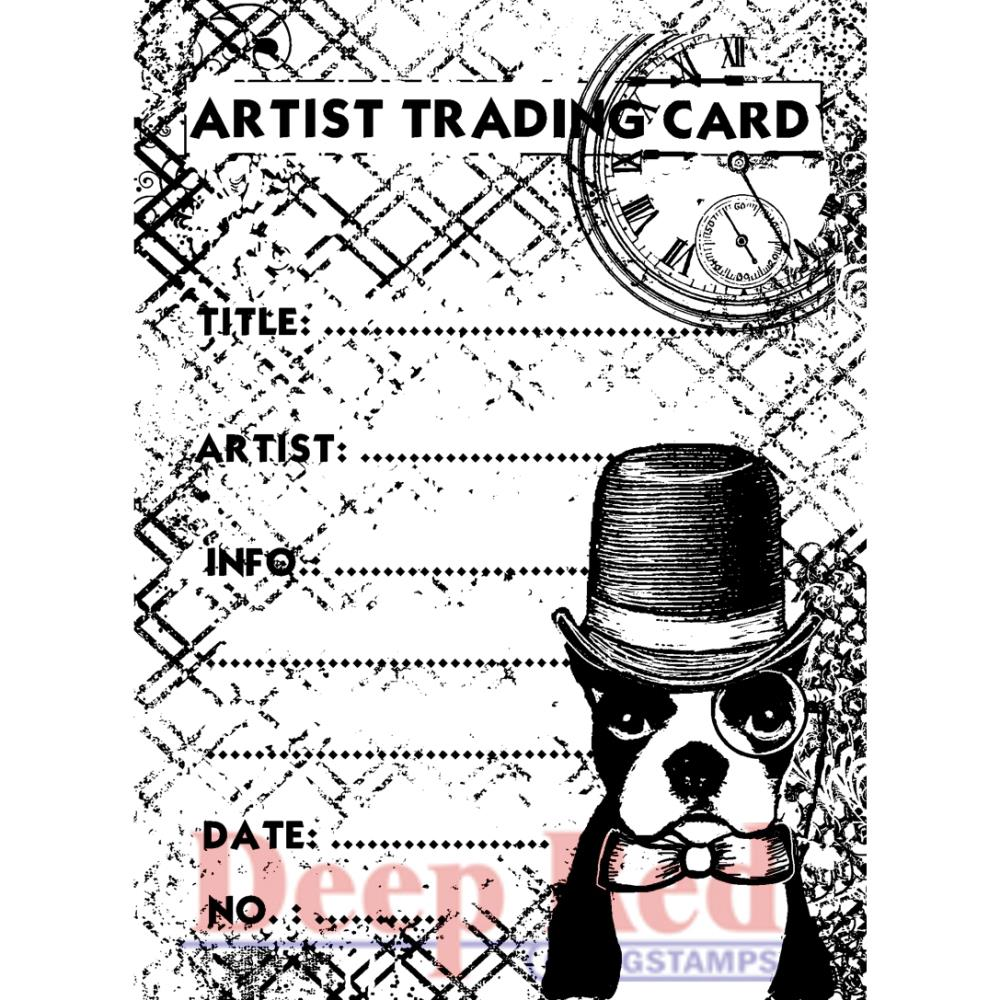*NEW Deep Red Stamps Boston Dog Artist Trading Card Stamp