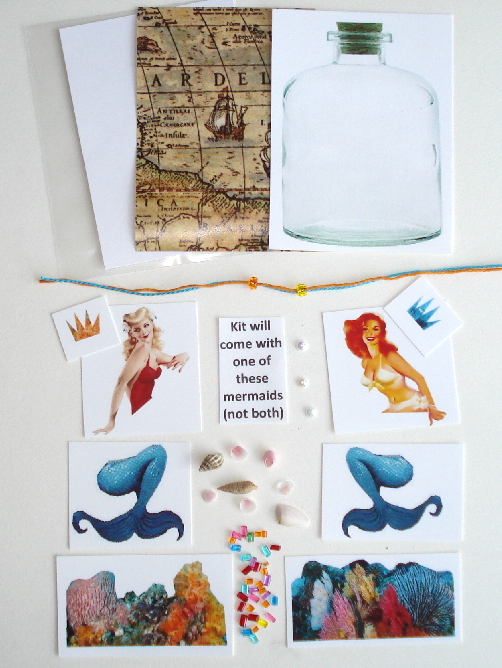 Artist Trading Card Kit of the Month - July 2015 Mermaid Bottle
