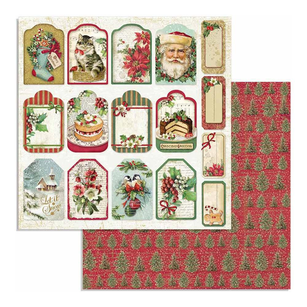 *NEW Stamperia 12 x 12 Classic Christmas Tags SBB706