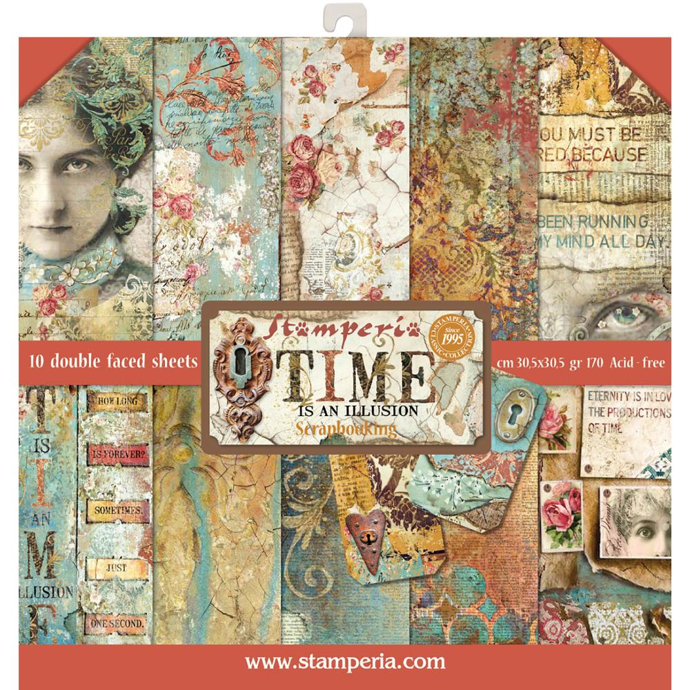 *NEW Stamperia Time Is An Illusion 12 x 12 Paper Pad