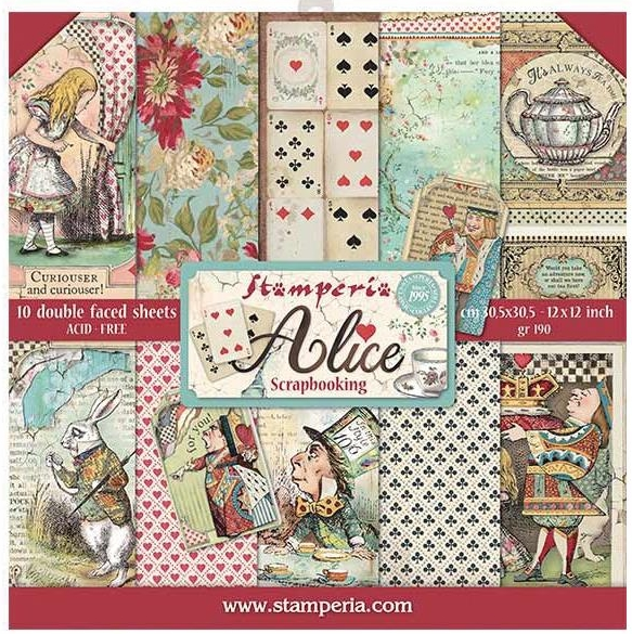 *NEW Stamperia Alice In Wonderland 12 x 12 Paper Pad