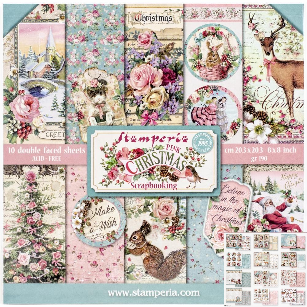 *NEW Stamperia 8 in. x 8 in. Pink Christmas Paper Pad