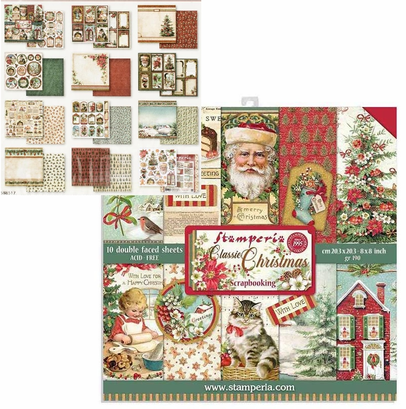 *NEW Stamperia 8 in. x 8 in. Classic Christmas Paper Pad