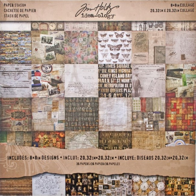 "Tim Holtz Idea-ology 8"" x 8"" Paper Stash - Collage Paper"