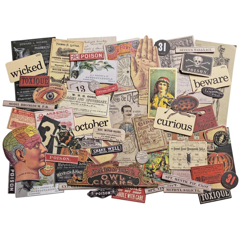 Tim Holtz Idea-ology Halloween Ephemera 68 Pcs.