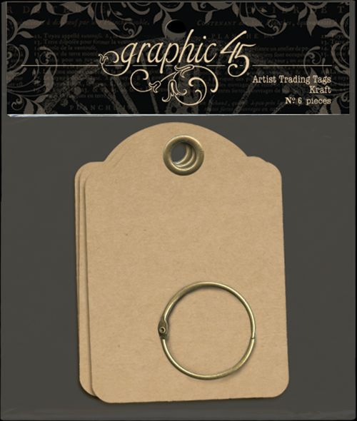Graphic 45 Staples Artist Trading Tags Kraft ATCs - 6/pkg.