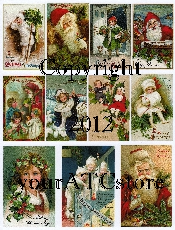 yourATCstore Christmas Postcards Collage Sheet