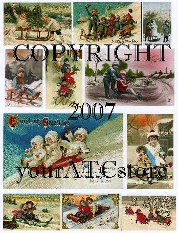 yourATCstore Let's Go Sledding Collage Sheet