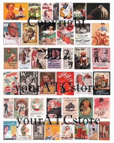 yourATCstore Advertisements of the Past Collage Sheet #1