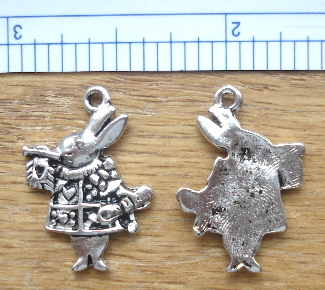 Alice in Wonderland's (the White Rabbit) Charm in Silver