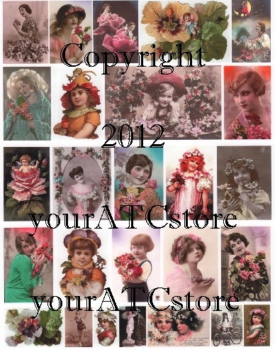 yourATCstore Flower Beauties Collage Sheet