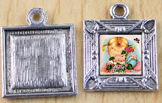 Picture Frame Photo Charm - Silver Square Southwestern
