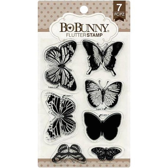 Bo Bunny Essentials Flutter Butterfly Stamp Set - 7 Stamps